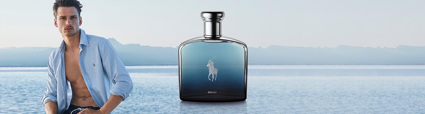 Bottle of Polo Deep Blue eau de parfum and model Simon Nessman