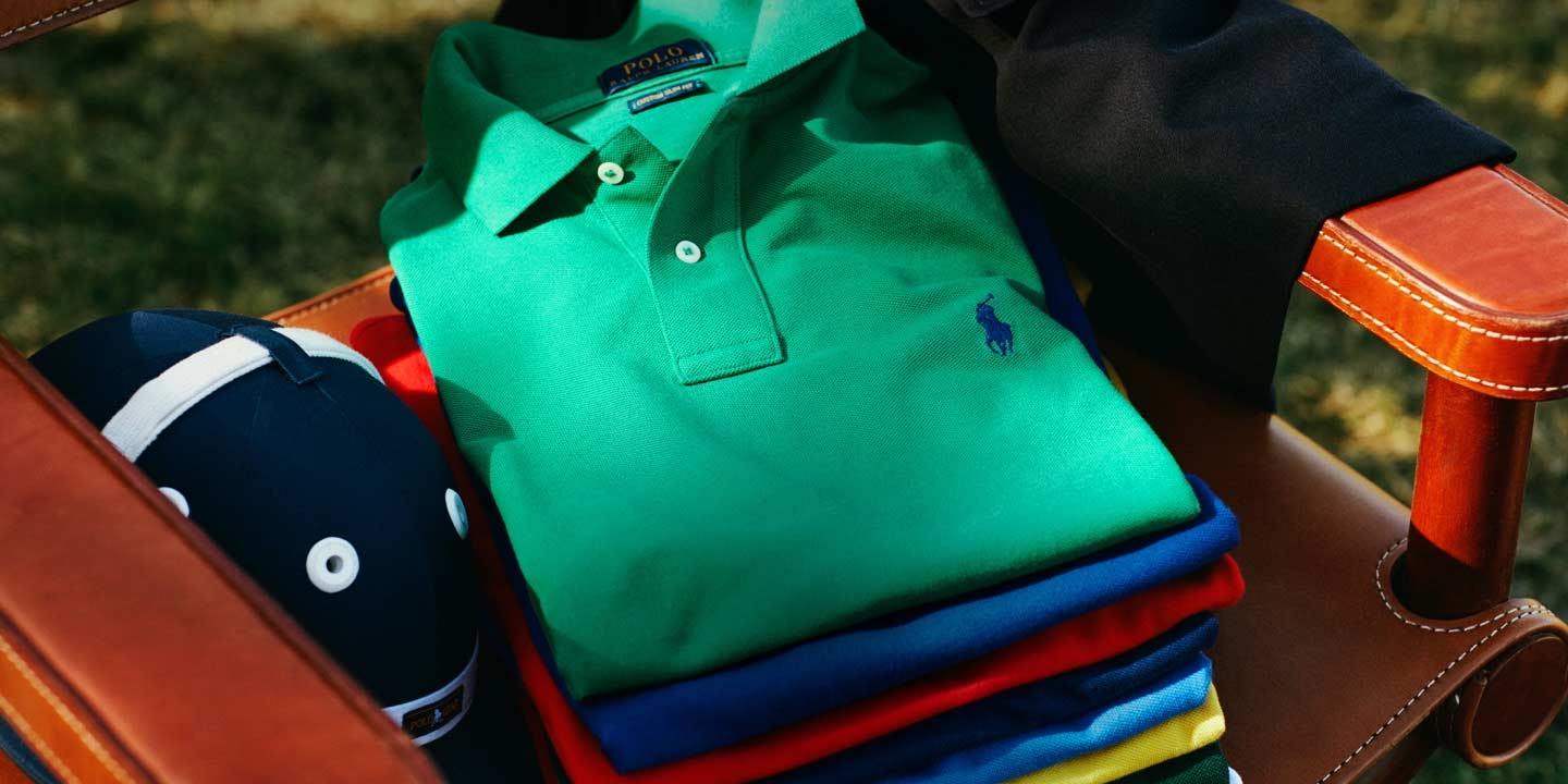 Stack of Polo shirts in different colors.
