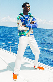 Model in track jacket with sailing-inspired allover prints