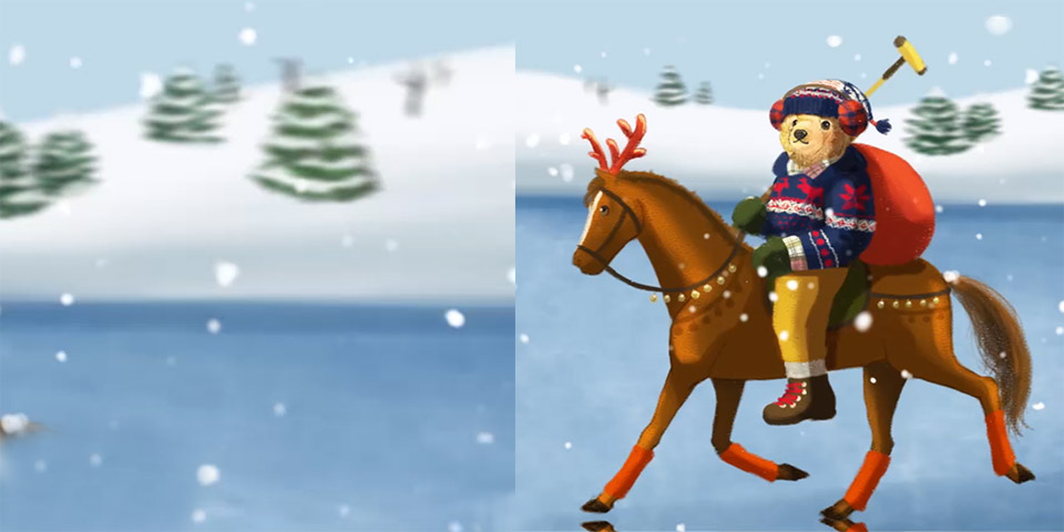 Drawing of Polo Bear riding a reindeer.