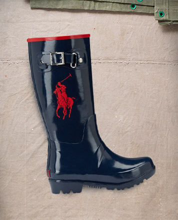 Black boot with silver buckles.