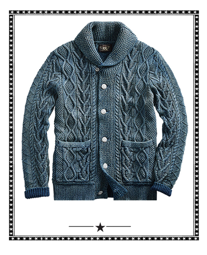 Indigo-dyed shawl cardigan & vintage photograph of men in denim