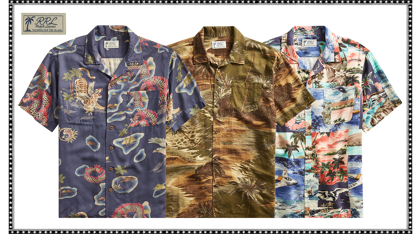 Short-sleeve button-down shirts with tropical-island-themed prints