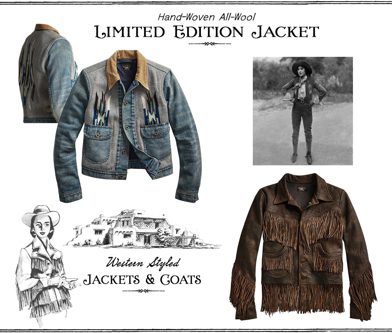 Denim-and-wool & fringe leather Southwestern-inspired jackets