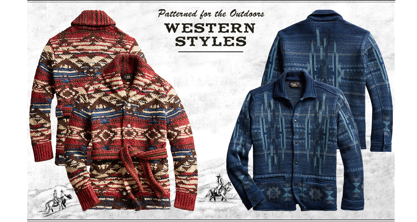Tan & navy cardigans with woven Southwestern motifs
