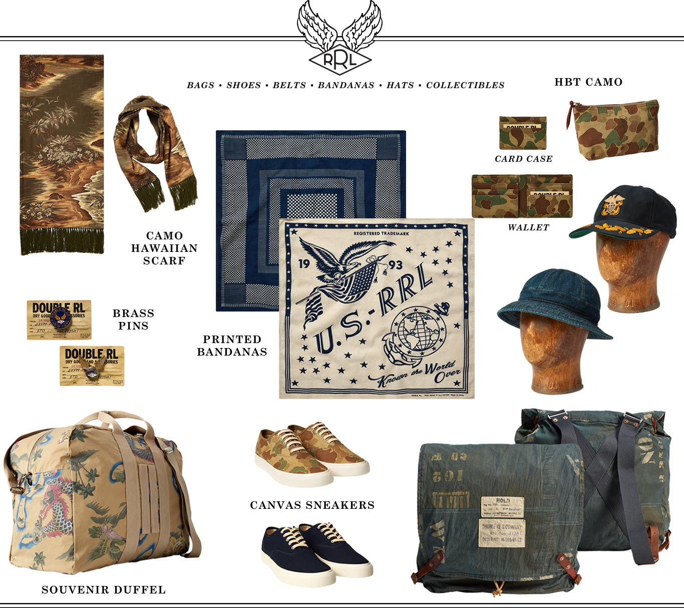 Assorted Double RL accessories with military & tropical island motifs