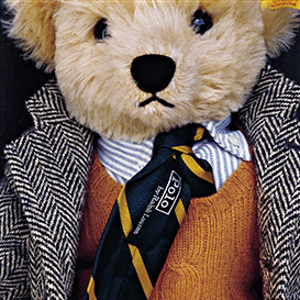 Stuffed teddy bear wearing herringbone sport coat & RL tie