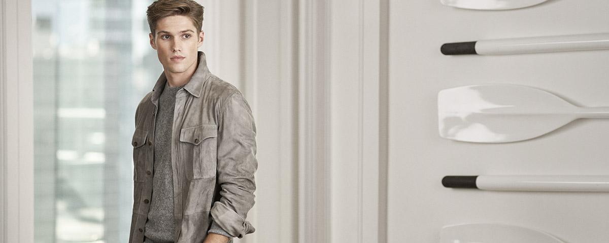 Man in grey suede overshirt
