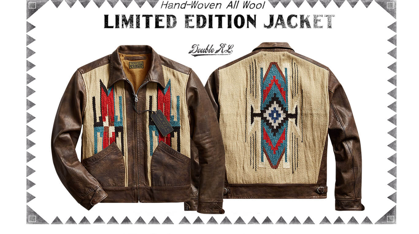 Leather & embroidered canvas Western-inspired bomber jacket
