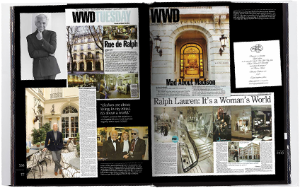 Cover and inside spread from the book WWD: Fifty Years of Ralph Lauren
