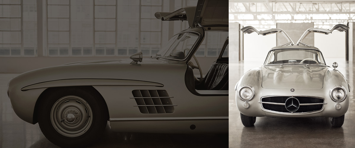 Photograph of the Mercedes-Benz 'Gullwing' with its doors open
