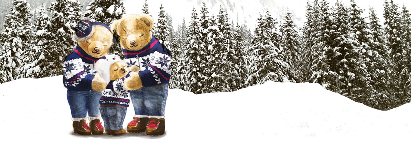 Drawing of Polo Bears in winter attire.
