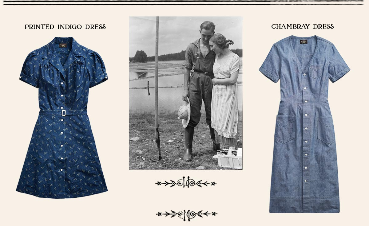 Indigo & chambray dress & photograph of couple on ranch
