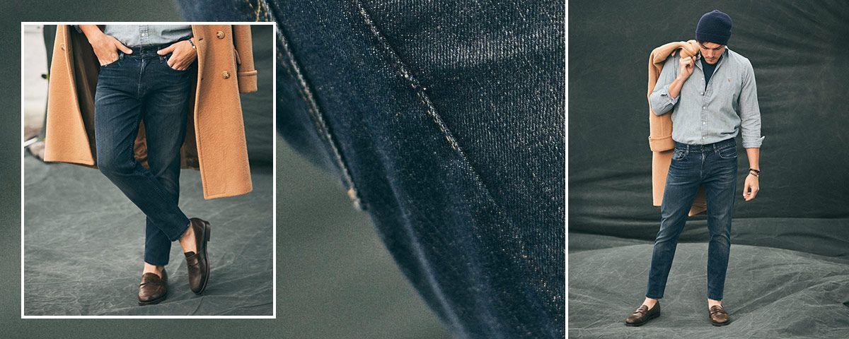 Close-up of Eldridge Skinny jean; man wears Polo denim.
