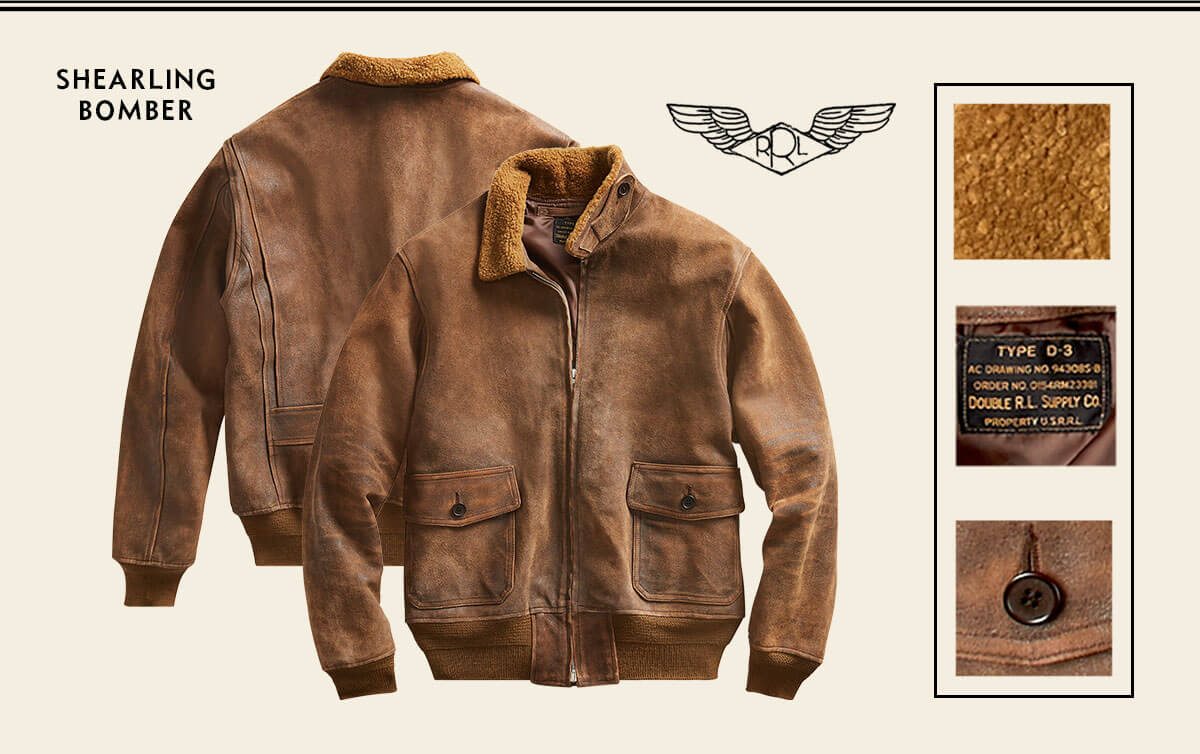 Weathered brown shearling bomber jacket