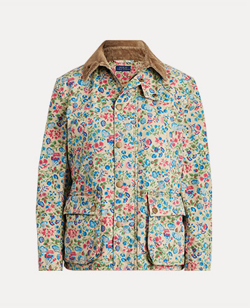 White jacket with multicolored floral print & contrast collar