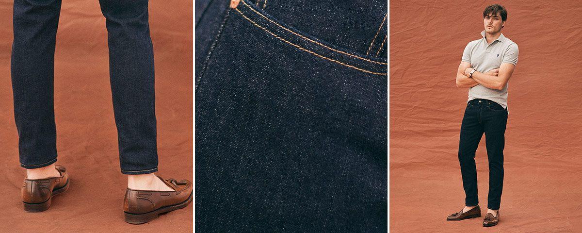 Close-up of Sullivan Slim jean; man wears Polo denim.